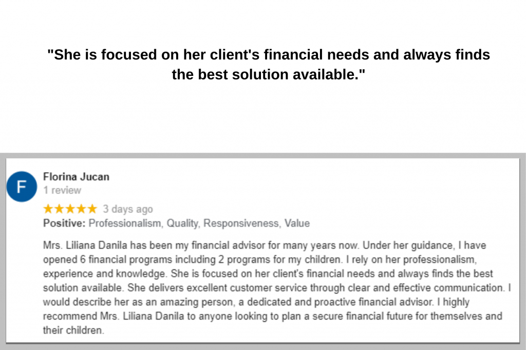 Florina Testimonial for Liliana Danila Financial Advisor Montreal